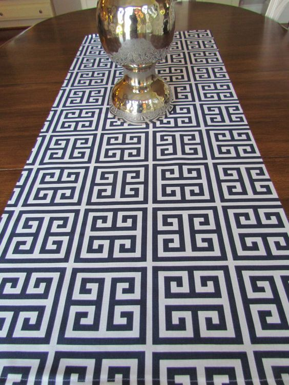 navy table runner 12 x 48 navy greek keytable runners wedding showers decorative navy blue greek. Black Bedroom Furniture Sets. Home Design Ideas