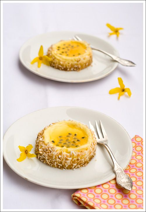 White Chocolate Coconut Cheesecakes with Passionfruit Glaze