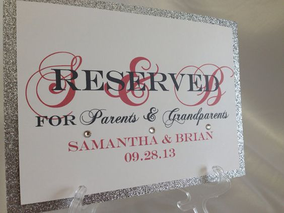 MONOGRAMMED Glitter Wedding Table RESERVED Sign Display by ELDNYC ...