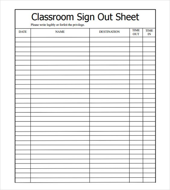 Sample Sign Out Sheet Template   Free Documents Download In Pdf