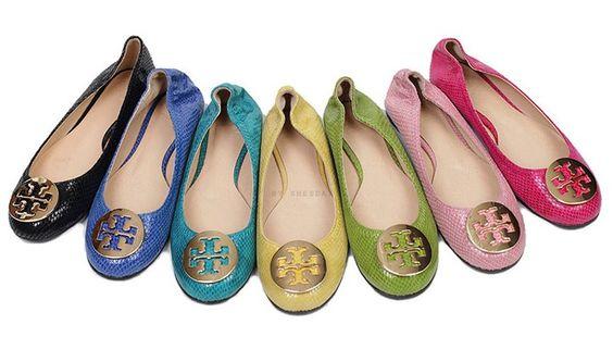 Tory Burch Ballerina Flats.  Black, Blue, Aqua, Yellow, Green, Light Pink and Hot Pink!