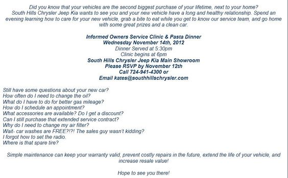 Join South Hills Chrysler Jeep Kia and the Oil \ Gas Workers of - extended service contract