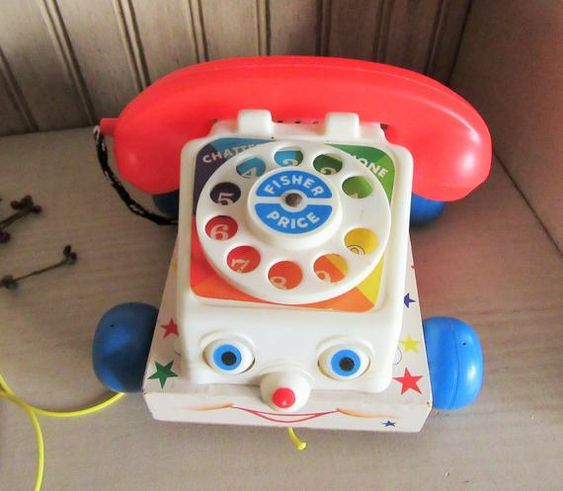 Fisher Price Phone, 1961 Toy Phone, Vintage Toy, Preschool Toy, Collectible Toy, Vintage Kids, Display Toy, Childrens Gift, Learning Toy