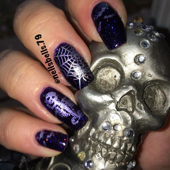 Painted polish by Lexi in resting witch face and moyou London plates festive 16 and gothic 7