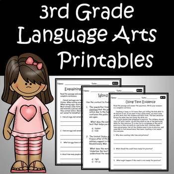 3rd Grade Ela Language Arts Printables Assessments Bundle Common