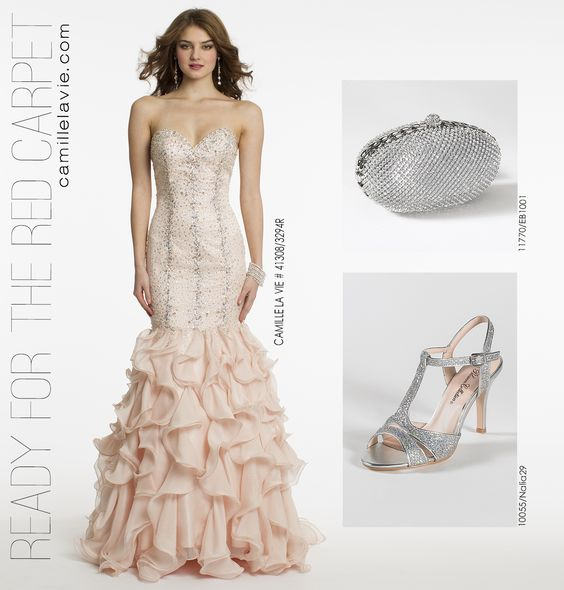 Beaded Drop Waist Trumpet Tiered Prom Dress by Camille La Vie