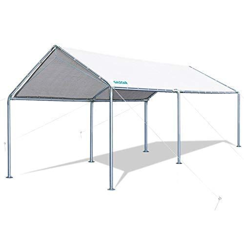 Galsoar 10x20ft Outdoor Heavy Duty Carport Car Canopy Shelter With 6 Steel Legs In 2020 Car Canopy Canopy Shelter Canopy