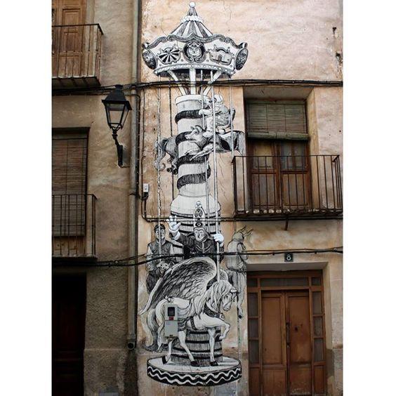 """Daniel Muñoz """"SAN"""" """"El Tío vivo"""". Mural realizado en la calle Generalísimo Franco de la localidad de Blanca(Murcia). Justo enfrente de uno de los últimos bustos del dictador español existentes en el espacio público de España."""