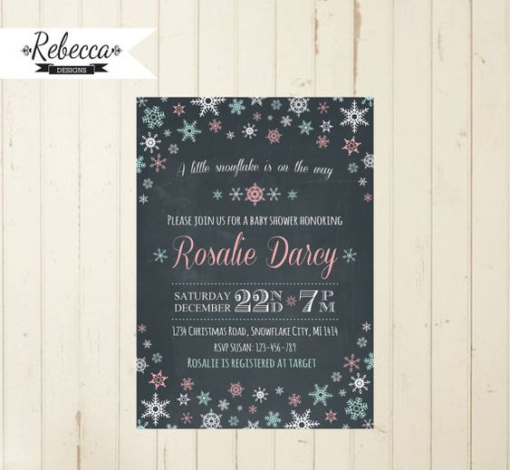 winter wonderland baby shower invitation baby it's cold outside baby shower Christmas chalkboard invite snowflakes neutral baby shower by RebeccaDesigns22