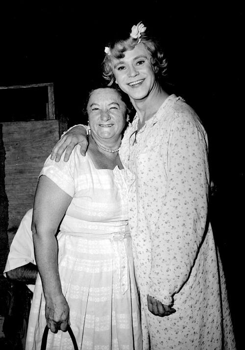"mattybing1025: "" Jack Lemmon with Tony Curtis' mother on the set of Some Like It Hot, 1959. """