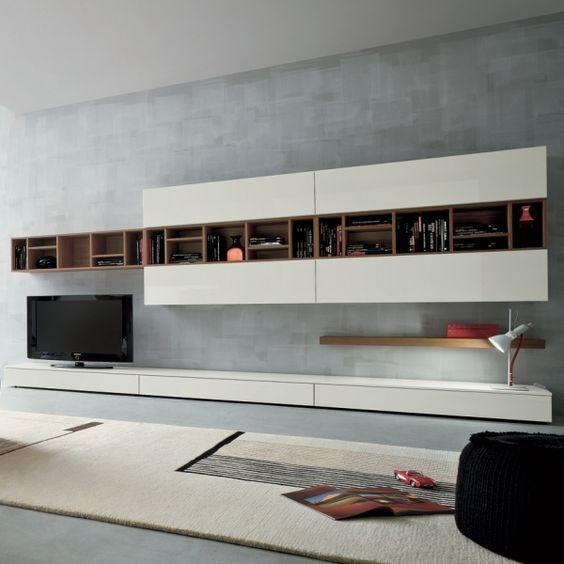 moderne Wohnwand bücherregal beige holz weiß