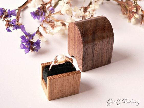 Wooden engagement ring box handmade original by Woodstorming  5,797 Yen