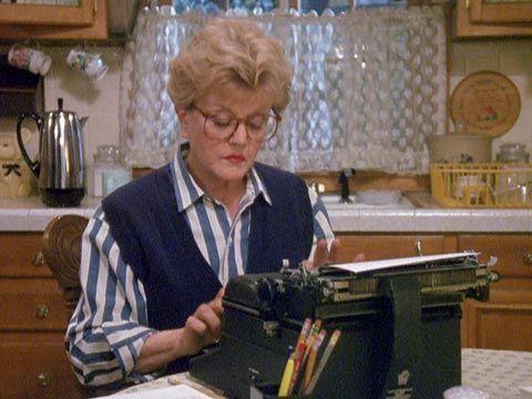 Angela Lansbury as Jessica Fletcher on her typewriter in Murder, She Wrote