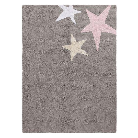 Lorena Canals Teppich Kinderteppich Dunkelgrau Pink Wolle