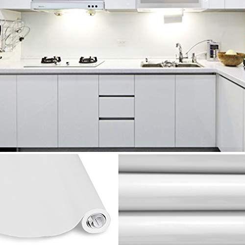 KINLO Weiß Glanz Möbelfolie 5x0.61M PVC Küchenschrank Aufkleber Selbstklebend