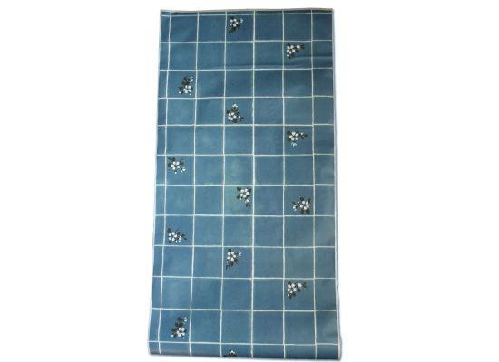 Wandtapete Küchentapete blaue Fliesen mit weißen Blüten selbstklebend