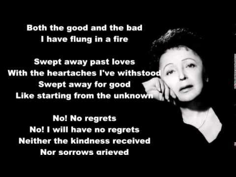 Edith Piaf Non Je Ne Regrette Rien English Translation Youtube Edith Piaf Best Quotes English Translation