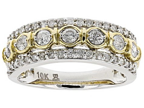 White Diamond 10k White And Yellow Gold Ring 75ctw Cdg122 Yellow Gold Rings Gold Band Ring Gold Rings