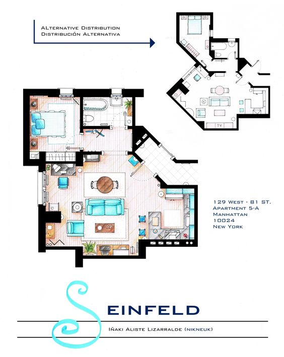 """.  SEINFELD's APARTMENT.  This is a hand drawed plan, in scale, coloured with colour pens and with full details of furniture and complements ...     The design is made according with the """"real"""" apartments respecting the spaces, proportions, furniture and objets presents in the studio.     Some sets have changed throughout the different seasons and this floorplan is a mixture of various of them.     .  You can buy an original artworks here: http://www.etsy.com/shop/FLOORPLANSTV or writting me…"""