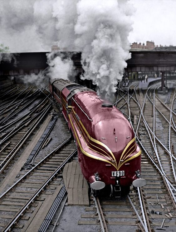 LMS Coronation Class locomotives, introduced in 1937 to commemorate the coronation of King George VI. These streamlined trains were designed by W. A. Stanier.: