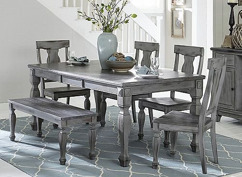 Kelsey 6 Pc Dining Set W Bench Wood Dining Table Grey Kitchen