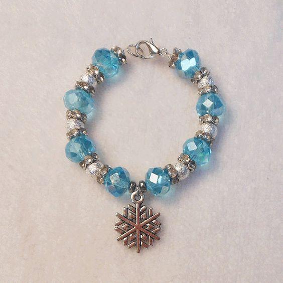 Girls Bracelet - Christmas Bracelet - Charm Bracelet - Child's Bracelet - Beaded Bracelet For Girls - Blue - Snowflake Charm Bracelet