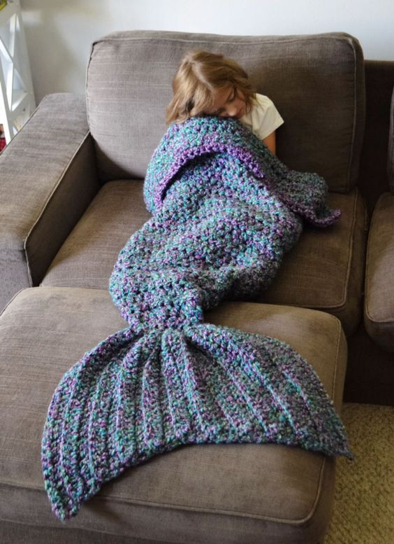 Couverture tricotée en plaid sirène