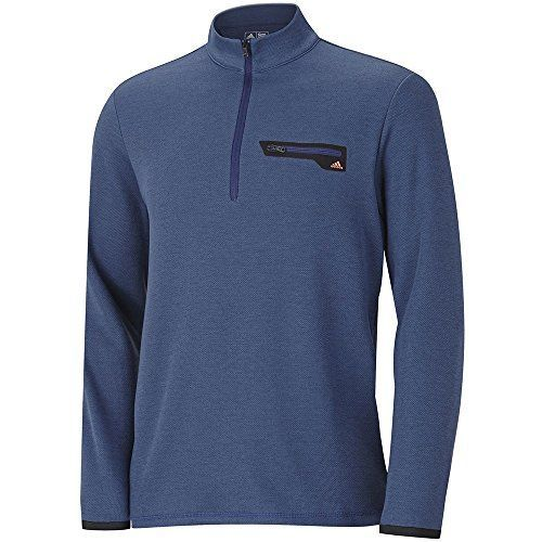 adidas Golf Mens Sport Performance 12 Zip Sweater Midnight Indigo HeatherSolar Red XXLarge * Details can be found by clicking on the image.