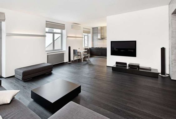 Arredare casa con pavimento scuro - Soggiorno con parquet scuro