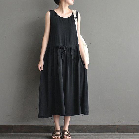 Women summer sleeveless loose cotton vest dress