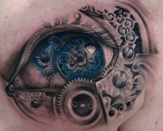 13 Awesome Steampunk Tattoos In 2020 Steampunk Tattoo Eye Tattoo Biomechanical Tattoo Design