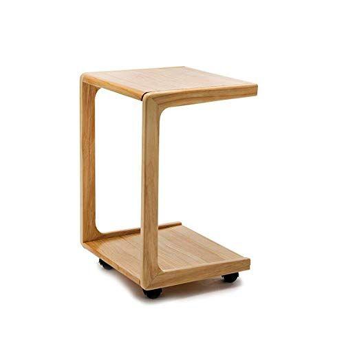 Qidi Table Wooden Coffee Table Double Layer Wheel Study Desk Bracket Laptop Snack Sofa Table Night Stand Corner Tab Wooden Coffee Table Corner Table Sofa Table