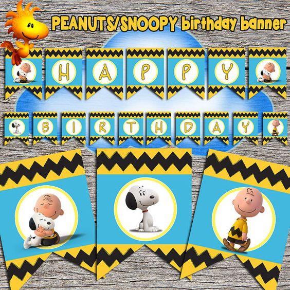 Maní/Snoopy cumpleaños Banner Digital por DottyDigitalParty