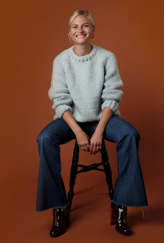 Pandora Sykes get on that 70s vibe with the wooly Wes Sweater by Wool and the Gang.