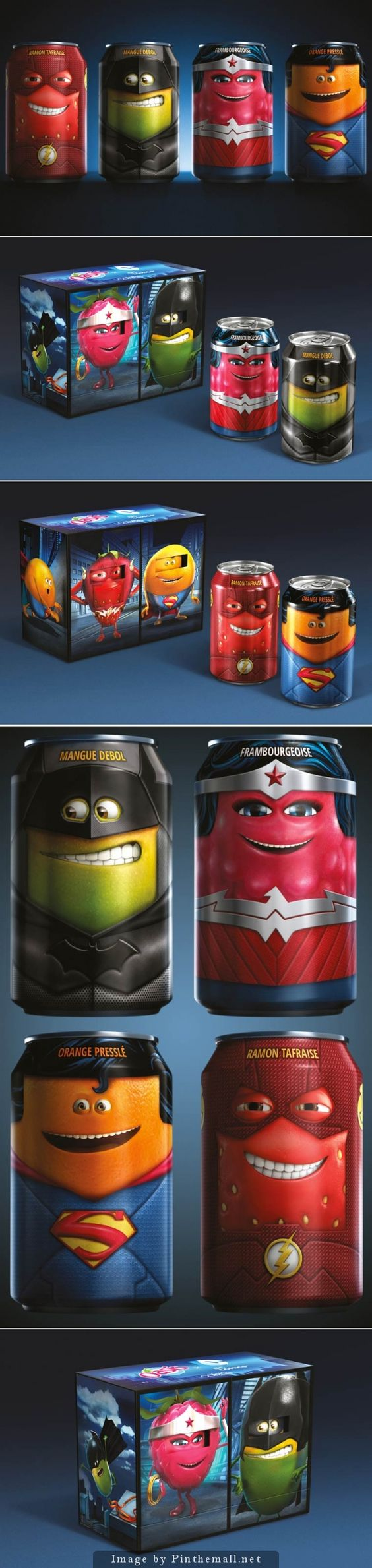 DC Comics x Oasis – Quand les super-héros rencontrent les personnages Oasis. Comic inspired packaging curated by Packaging Diva PD : ) created via http://www.ufunk.net/food/dc-comics-x-oasis/