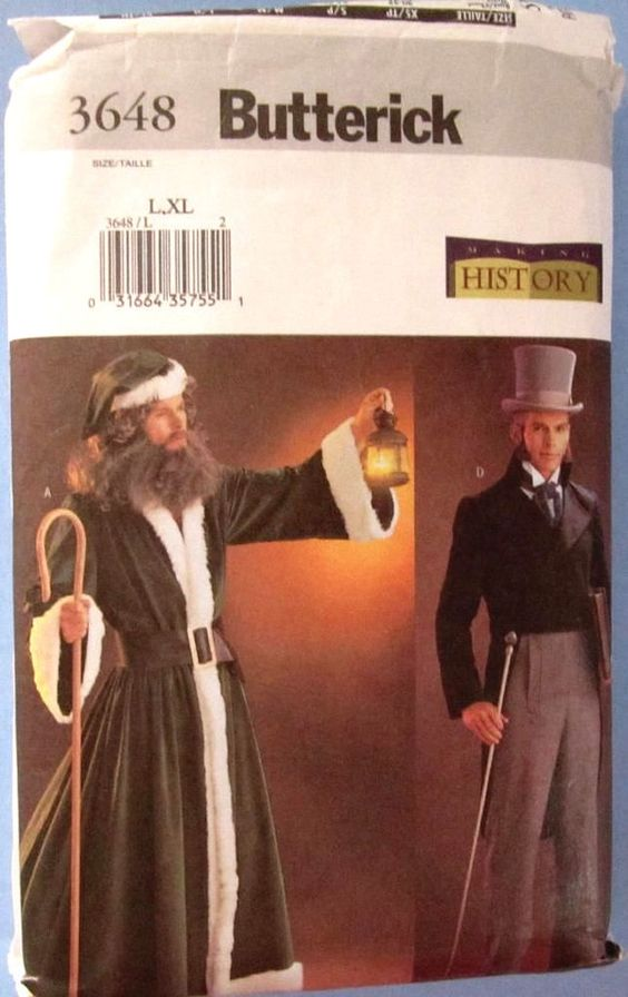 Butterick 3648 Adult Costume Sz Lg & Xlg Sewing Pattern Dickens Father Christmas #Butterick