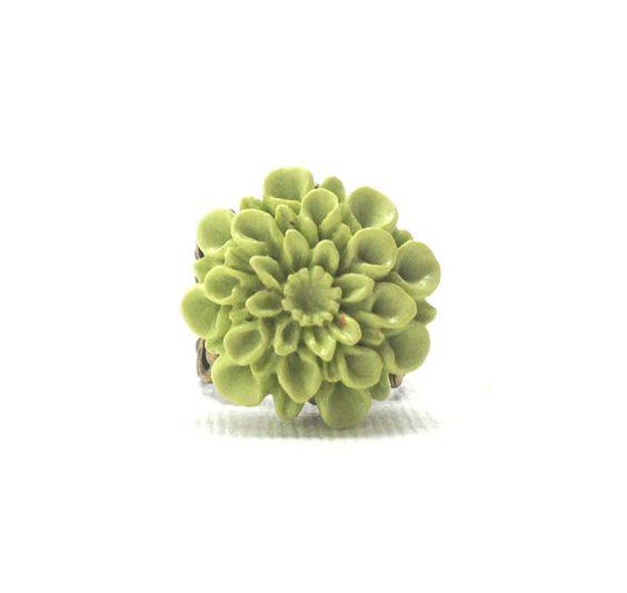 Lime Green Mum Ring Antique Brass by GirlBurkeStudios on Etsy, $12.50