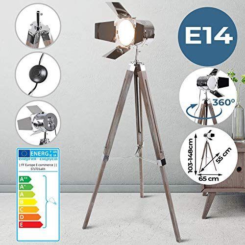 Lampadaire Type Projecteur De Cinema Avec Trepied En Bois Reglable En Hauteur Max 148 Cm Retro Vintage E14 A A E Lampe Salon Projecteur De Cinema Trepied