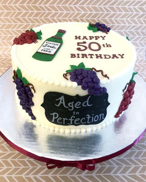 Wine Themed 50th Birthday Cake