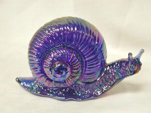 fenton snail cobalt blue carnival
