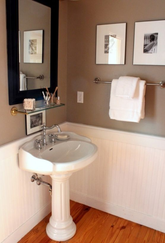 Beadboard Simple Bathroom Bathed In Luxury Baths Pinterest Powder Rooms Black Cabinets