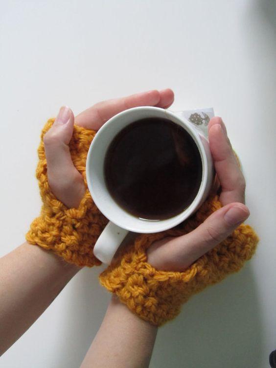 Chunky crochet fingerless mitts https://www.etsy.com/listing/201714609/mustard-chunky-crochet-mini-mitts