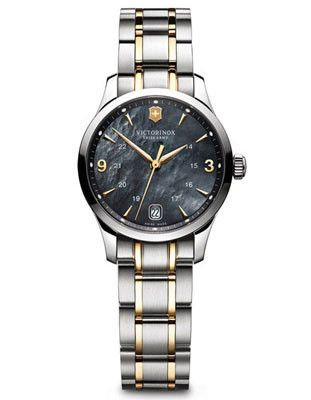 Swiss Army Ladies 100M Alliance - Black Mother of Pearl - Gold-Tone Accents