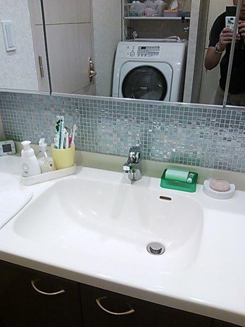 モザイクタイル 洗面所の鏡に 中古マンションに最適 の画像 賃貸