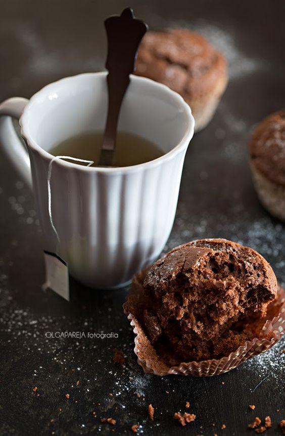 Magdalenas de chocolate con naranja gummy