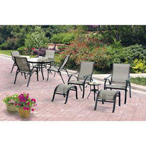 Mainstays Bettona 10 Piece Sling Patio Dining Set And Leisure Set Seats 6