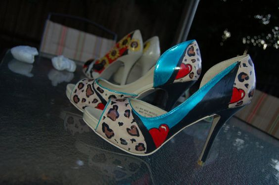 Hand painted pumps with leopard print and azalea by SharsShoes, $75.00