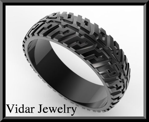 Mens Tire Tread Wedding RingUnique Black Gold Ring by Vidarjewelry, $1175.00