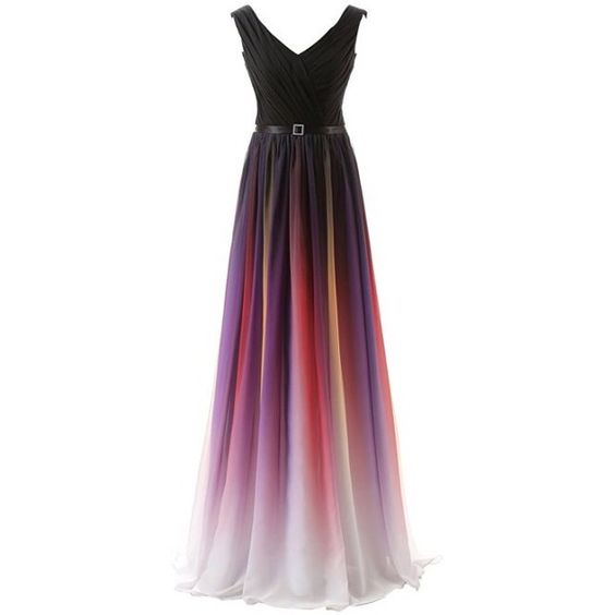 Clearbridal Women's Fomal Chiffon Prom Dress Gradient Color Bandage... ($66) ❤ liked on Polyvore featuring dresses, gowns, chiffon prom dresses, purple prom dresses, evening maxi dresses, bridesmaid dresses and prom dresses