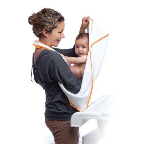 aacua 4 in 1 Multi-Use Bath Towel (White) - Orange Trim (837654903346) NEW Generation Bath Towel - 4 Products in 1! apron towel babywrap bathwrap